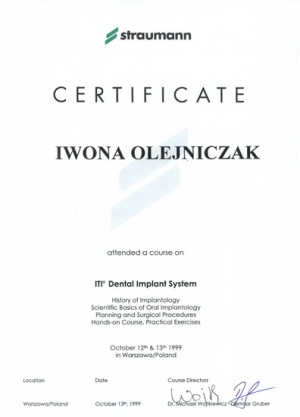 CERTIFICATE. Implantology