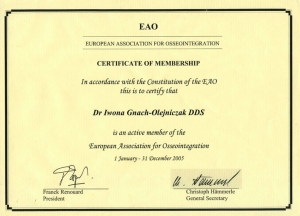 CERTIFICATE OF MEMBERSHIP EUROPEAN ASSOCIATION FOR OSSEOINTEGRATION