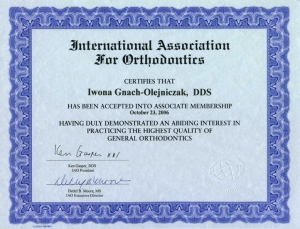 CERTIFICATE. International Association for Orthodontics