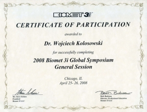 BIOMET 3i CERTIFICATE OF PARTICIPATION