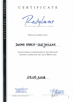 RESTYLANE CERTIFICATE